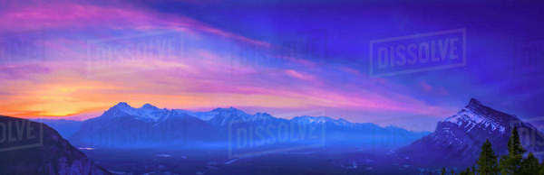 Sunrise making arches of colour over the Bow Valley Banff Alberta Royalty-free stock photo
