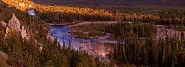High angle, panoramic shot of the Bow River Banff, Alberta, Canada. Royalty-free stock photo