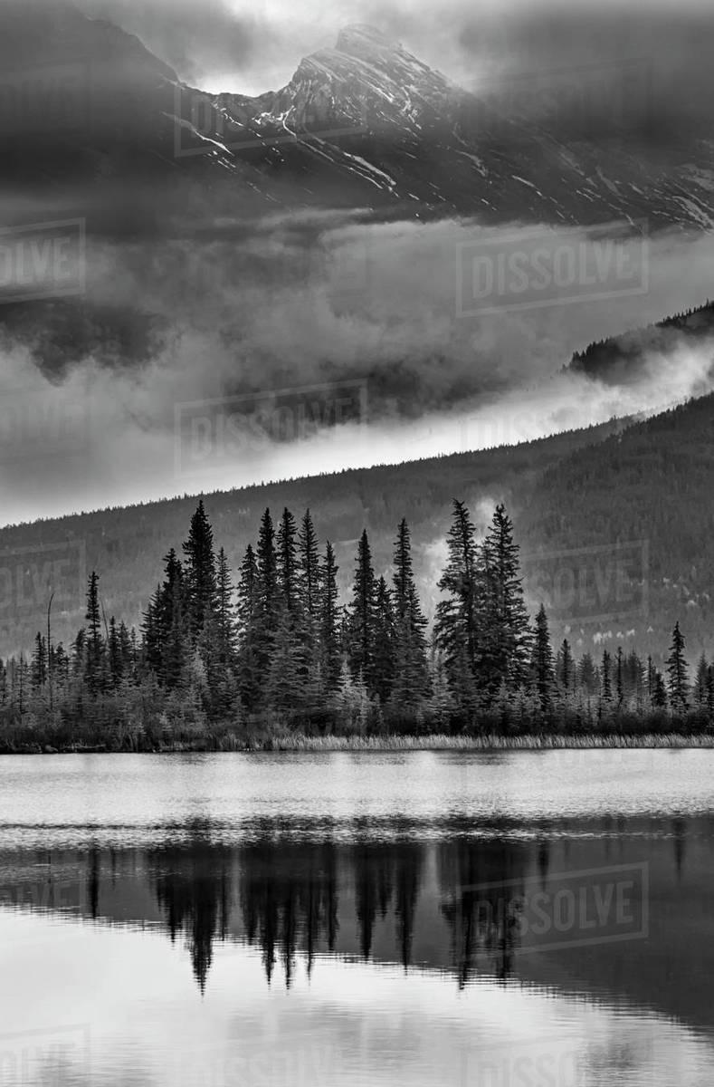 Black and white portrait of vermilion lakes in banff alberta
