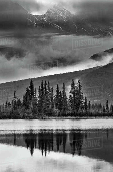 Black and white portrait of Vermilion Lakes in Banff Alberta. Royalty-free stock photo