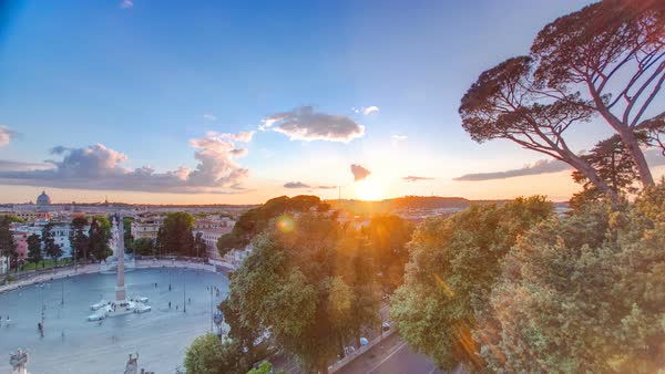 Aerial view of the Piazza del Popolo timelapse in Rome at sunset Royalty-free stock video