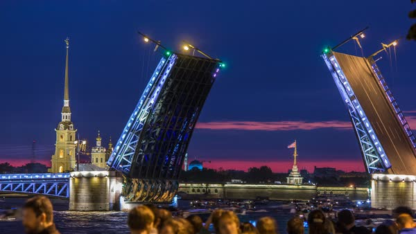 Classic symbol of St. Petersburg White Nights - a romantic view of the opening Palace Bridge timelapse, which spans - the spire of Peter and Paul Fortress Royalty-free stock video