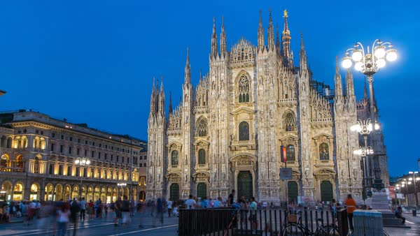 Milan Cathedral Day To Night Transition Timelapse Duomo Di Milano Is The Gothic