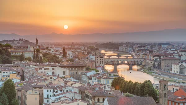 Scenic Skyline View of Arno River timelapse, Ponte Vecchio from Piazzale Michelangelo at Sunset, Florence, Italy. Colorful sky. Evening mist Royalty-free stock video