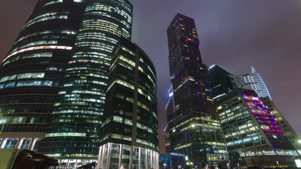 Skyscrapers International Business Center City at night near Moscow river timelapse hyperlapse, Moscow, Russia Royalty-free stock video