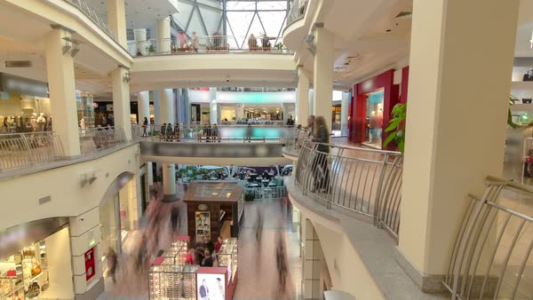 Shopping centre with atrium inside interior on Zemlyanoy Val street, Sadovoye ring in Moscow timelapse hyperlapse fisheye Royalty-free stock video