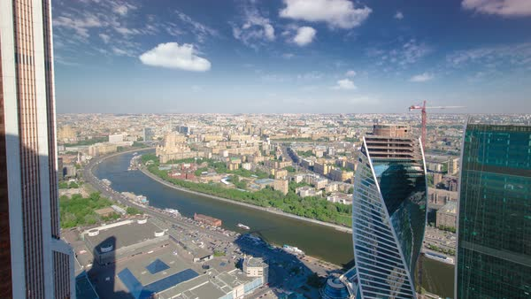 Skyscrapers of Moscow City business complex and river timelapse. Royalty-free stock video