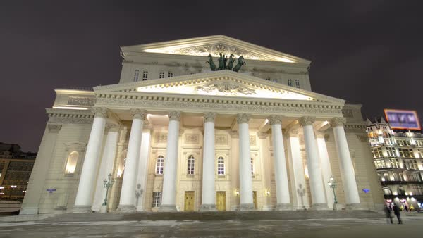 Night view of the State Academic Bolshoi Theatre Opera and Ballet winter timelapse hyperlapse, Moscow, Russia Royalty-free stock video