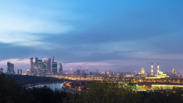Panoramic view of Moscow City, Russia, from Sparrow Hills day to night transition timelapse Royalty-free stock video