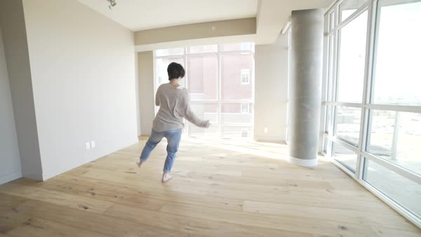Slow motion of a dancer practicing in a studio Royalty-free stock video