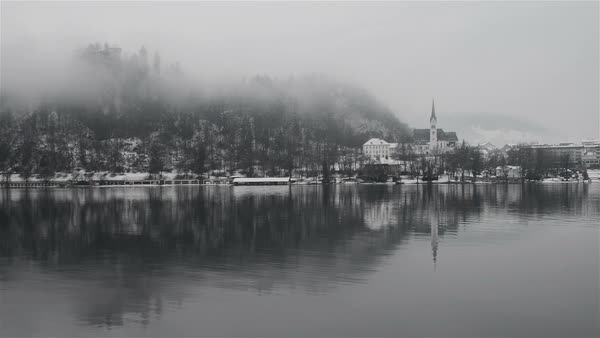 Bled lake in the morning, Slovenia Royalty-free stock video