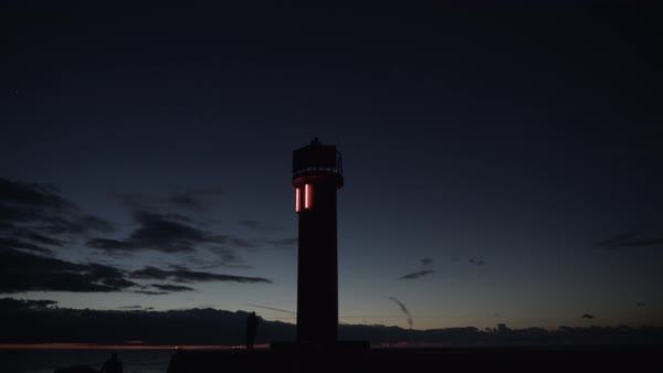 Hand-held shot of a lighthouse with red lights Royalty-free stock video