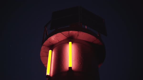 Hand-held shot of a lighthouse with tube lights Royalty-free stock video