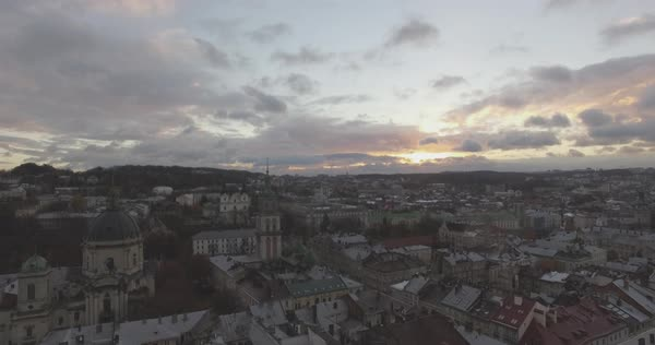 Aerial shot of Old Town of Lviv Royalty-free stock video