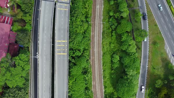 Top view of freeways in Kuala Lumpur Royalty-free stock video