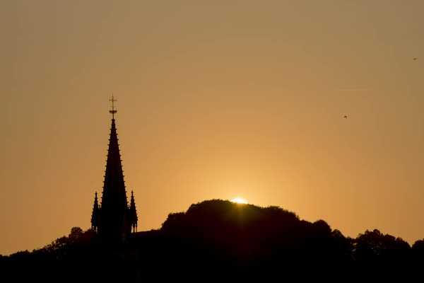 Timelapse shot of a church at sunset Royalty-free stock video