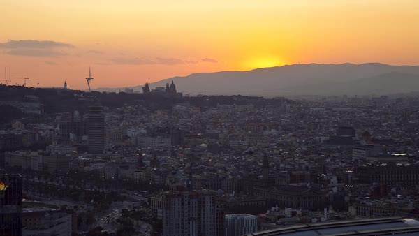 Timelapse of sunset over Barcelona Royalty-free stock video