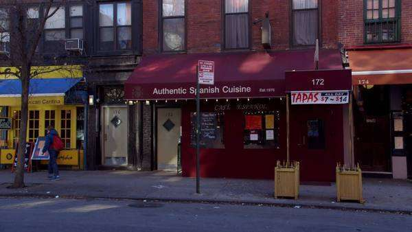 Static shot of a Spanish restaurant in New York City Rights-managed stock video
