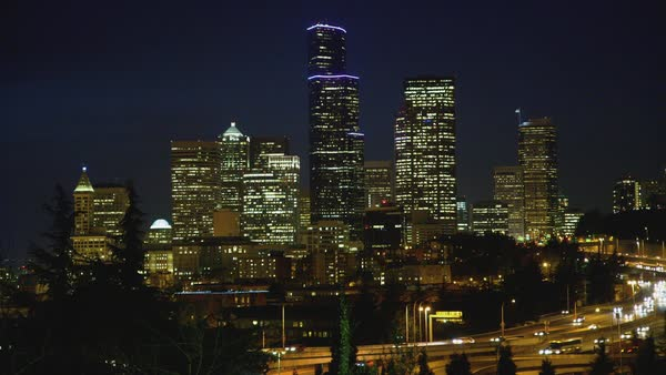 Static shot of skyline of downtown Seattle from Rizal Park Rights-managed stock video