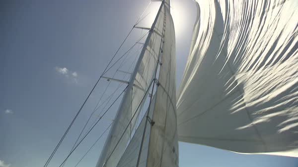 Tilt-down shot of the deck of a yacht at sea Rights-managed stock video