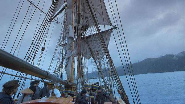 19th-century old tall masted ship Rights-managed stock video