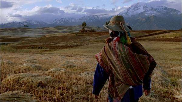 Tracking shot of a Peruvian shaman walking in a field Rights-managed stock video