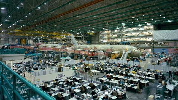 Montage of airplane manufacturing. Originally sourced from 70mm film Rights-managed stock video