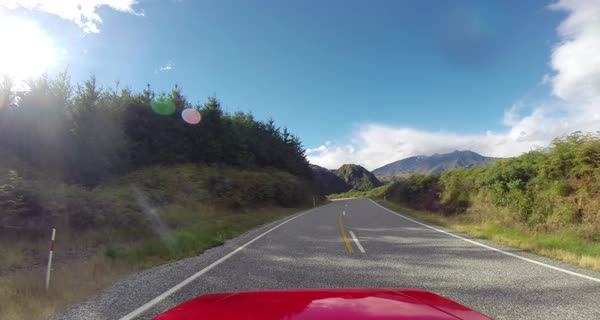 POV shot of a car on a road in New Zealand Royalty-free stock video
