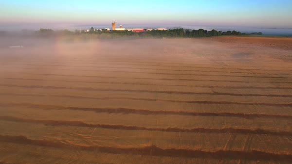 Rising up out of ground fog to see stunning farm fields and silos at sunrise, aerial view. Royalty-free stock video