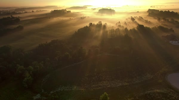 Magical sunrise over foggy rural fields and trees with rolling hills, moving aerial view. Royalty-free stock video
