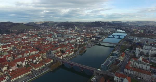 Aerials view of Maribor city in the overcast day, Slovenia Royalty-free stock video