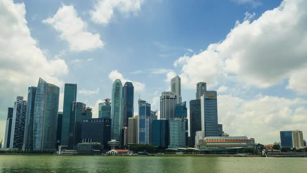 Timelapse of high rise central business district skyline viewed from Marina Bay, Singapore Royalty-free stock video