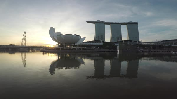 Drone shot of Marina Bay Sands hotel in Singapore Royalty-free stock video