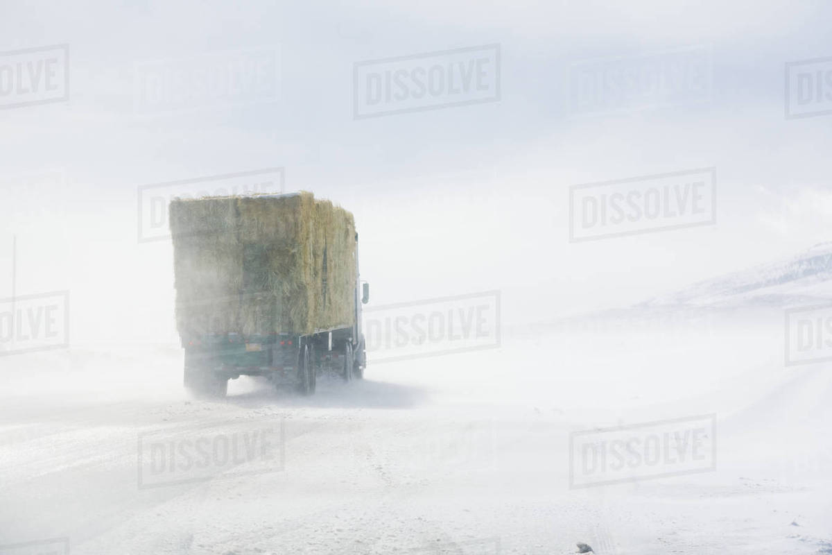 Ground Blizzard On Us Highway 285 Near The Colorado/New Mexico Border stock  photo