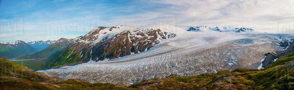 Panorama scenic of Exit Glacier and the Harding Icefield, Kenai Fjords National Park, Southcentral Alaska Rights-managed stock photo