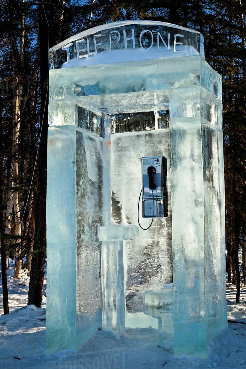 Telephone booth ice sculpture world ice art - Interior women s health fairbanks ak ...