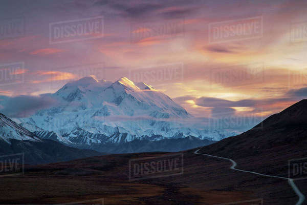 Long exposure photograph of sunset on Denali, Denali National park; Alaska, United States of America Rights-managed stock photo