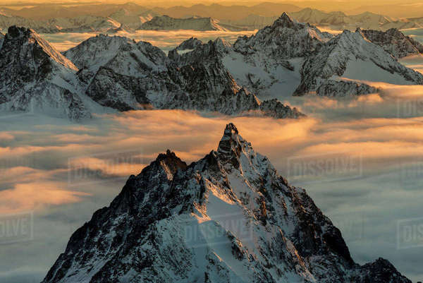 Aerial View Of The Neacola Mountains At Sunset, Aleutian Range, Southcentral Alaska, USA Rights-managed stock photo