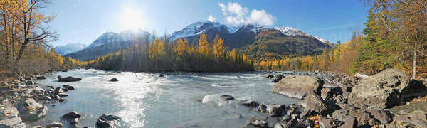 Panorama View Of Rapids Camp Along Eagle River In Chugach State Park, Southcentral Alaska Rights-managed stock photo
