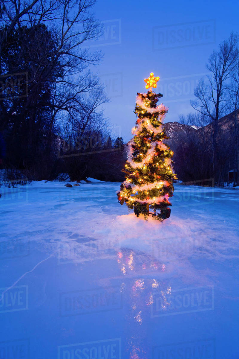 Christmas In Colorado Mountains.Decorated Christmas Tree Along Chalk Creek In Colorado Mountains At Night Winter Stock Photo