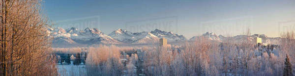 Panoramic View Of Mid Winter Sunshine Casting A Pink Glow On The Chugach Mountains Behind Anchorage, Southcentral Alaska, Winter Rights-managed stock photo