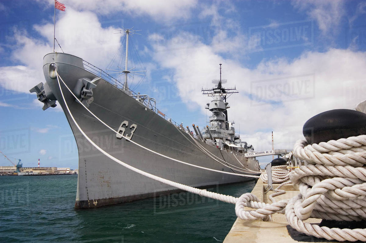 Hawaii, Oahu, Honolulu, U  S  S  Missouri, Historic Battleship Now Anchored  In Pearl Harbor stock photo