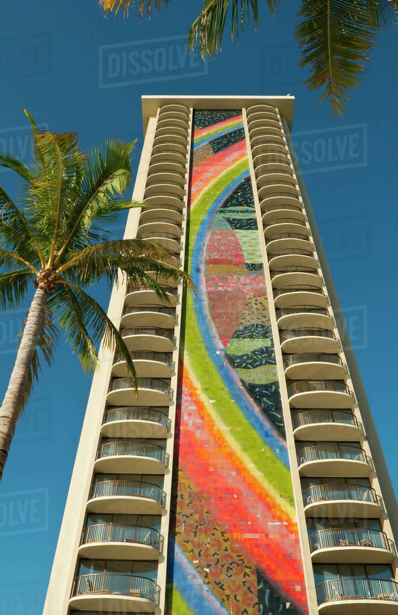 Hawaii Oahu Honolulu Waikiki View Of The Rainbow Tower In Hilton Hawaiian Village Hotel And Palm Trees From Below