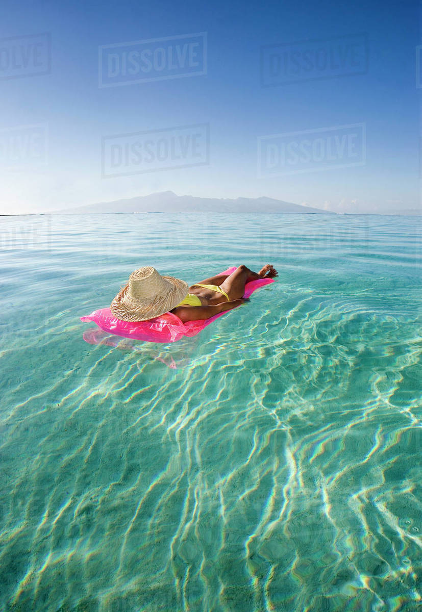 French Polynesia Tahiti Moorea Woman Floating In Water D1234 5 167