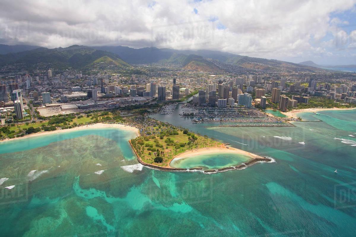 Usa Hawaii Oahu Ala Wai Yacht Basin And Moana Beach Park Honolulu Aerial View Of Magic Island