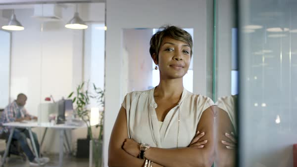 Businesswoman with arms crossed at office. Royalty-free stock video