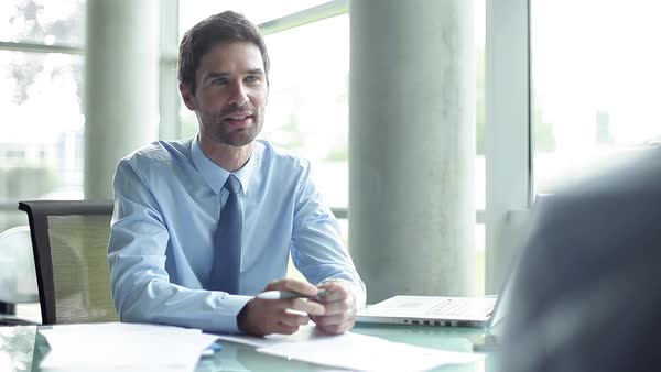 Businessman conducting interview in office Royalty-free stock video