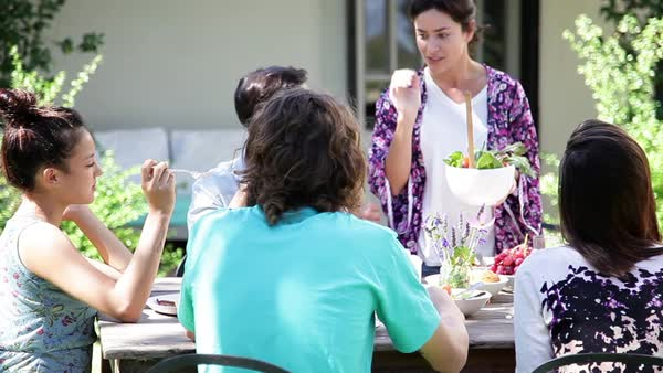 Friends enjoying outdoor dinner party Royalty-free stock video