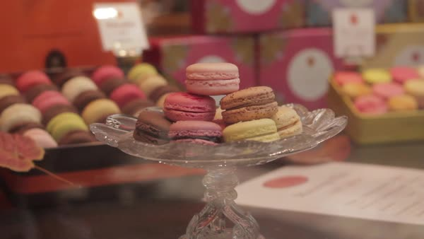 Macarons in bakery display window Royalty-free stock video