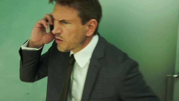 Business man handing difficult phone call Royalty-free stock video